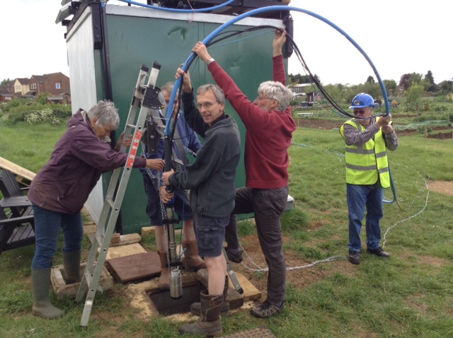 working party constructing the borehole
